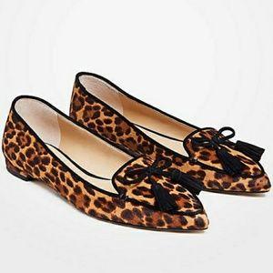 Ann Taylor Tassel Leopard Flats EUC